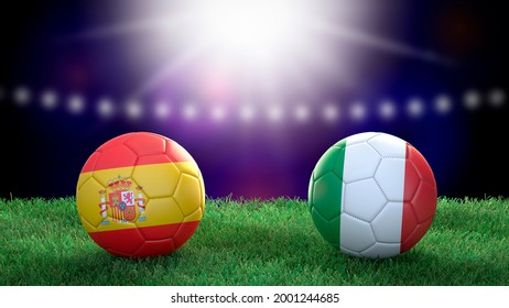 Two soccer balls in flags colors on stadium blurred background. Spain and Italy. Semifinal. 3d image
