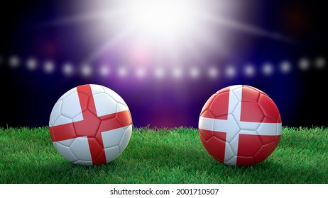 Two soccer balls in flags colors on stadium blurred background. England and Denmark. Semifinal. 3d image