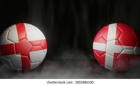 Two soccer balls in flags colors on a black abstract background. England and Denmark. Semifinal.  3d image