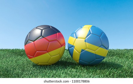 Two soccer balls in flags colours on green grass. Germany and Sweden. 3d image