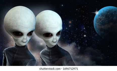 Two space aliens in black jumpsuits against the background of space and the planet. 3 d illustration