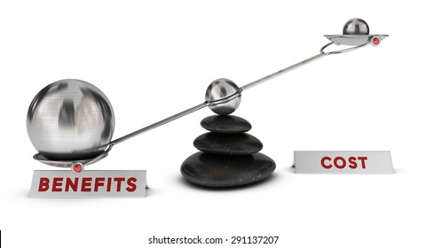 Two spheres with different sizes on a seesaw plus two signs cost and benefits over white background, marketing analysis concept or symbol