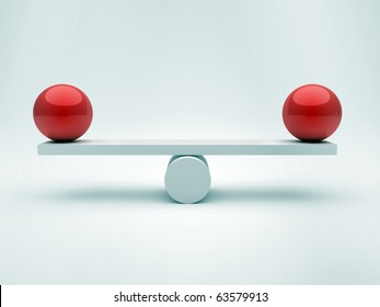 Two spheres in equilibrium - this is a 3d render illustration