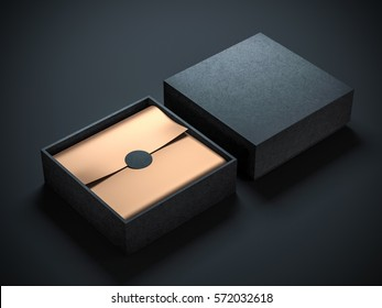 Two Square Black Boxes Mockup with golden wrapping paper, opened and closed, 3d rendering