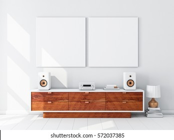 Two square white canvas Mockups hanging on the wall, hi fi micro system on bureau,3d rendering