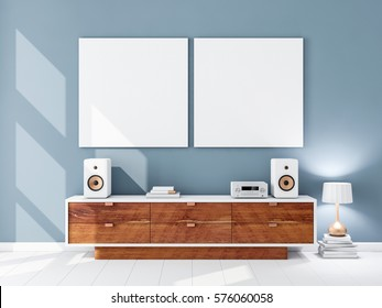 Two square white canvas Mockups hanging on the blue wall, hi fi audio micro system on bureau, 3d rendering