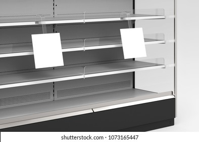 Two square wobblers on the supermarket rack shelf. Mockup. 3d illustration. 3d rendering.