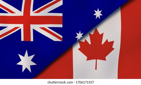 Two states flags of Australia and Canada. High quality business background. 3d illustration