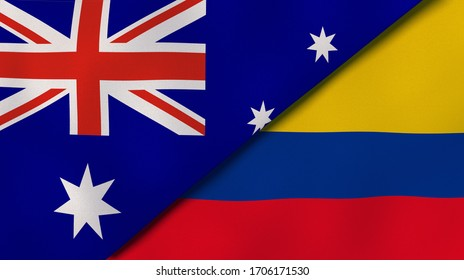 Two states flags of Australia and Colombia. High quality business background. 3d illustration
