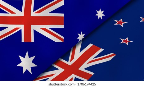 Two states flags of Australia and New Zealand. High quality business background. 3d illustration