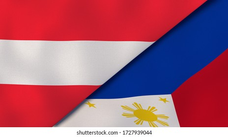 Two states flags of Austria and Philippines. High quality business background. 3d illustration