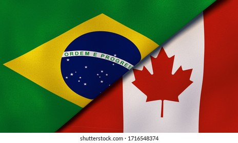 Two states flags of Brazil and Canada. High quality business background. 3d illustration