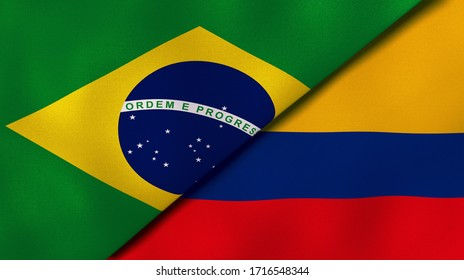 Two states flags of Brazil and Colombia. High quality business background. 3d illustration