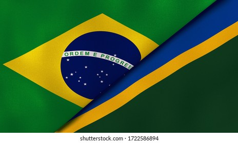 Two states flags of Brazil and Solomon Islands. High quality business background. 3d illustration