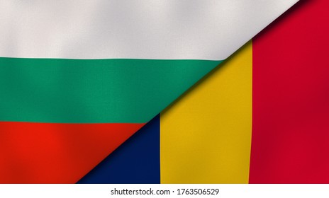 Two states flags of Bulgaria and Chad. High quality business background. 3d illustration
