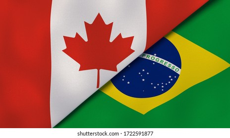 Two states flags of Canada and Brazil. High quality business background. 3d illustration