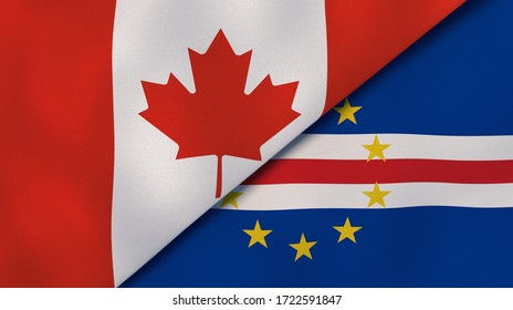 Two states flags of Canada and Cape Verde. High quality business background. 3d illustration