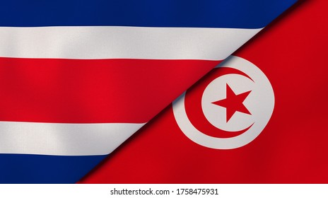 Two states flags of Costa Rica and Tunisia. High quality business background. 3d illustration