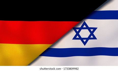 Two states flags of Germany and Israel. High quality business background. 3d illustration