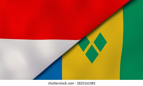 Two states flags of Indonesia and Saint Vincent and Grenadines. High quality business background. 3d illustration