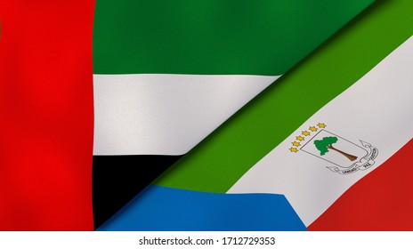 Two states flags of United Arab Emirates and Equatorial Guinea. High quality business background. 3d illustration