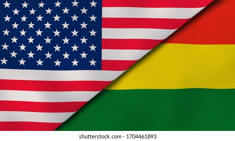 Two states flags of United States and Bolivia. High quality business background. 3d illustration
