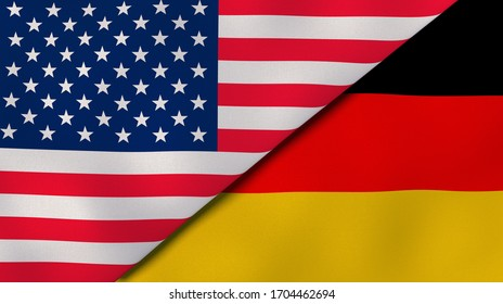 Two states flags of United States and Germany. High quality business background. 3d illustration