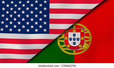Two states flags of United States and Portugal. High quality business background. 3d illustration
