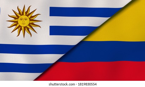 Two states flags of Uruguay and Colombia. High quality business background. 3d illustration