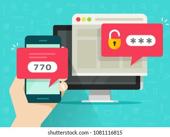 Two step authentication illustration, flat cartoon smartphone and computer safety login or signin, two steps verification via mobile phone and pc image
