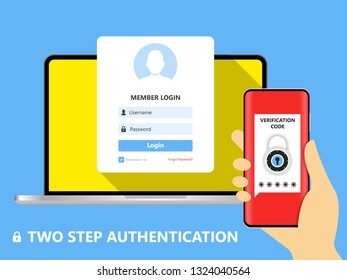 Two step authentication illustration, flat cartoon smartphone and computer safety login or signin, two steps verification via mobile phone and pc