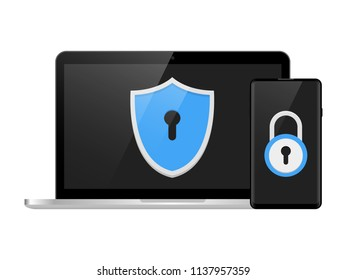 Two step authentication illustration, smartphone and computer safety login or signin, two steps verification via mobile phone and pc