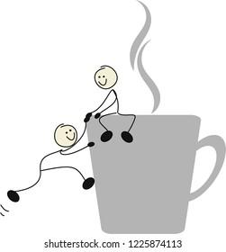 Two stick figures on a mug