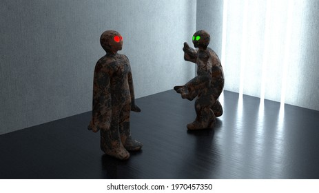 Two stone golem figures in a dark room lighted by neon tubes. 3d illustration