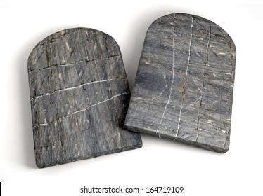 Two stone tablets representing the ten commandments on an isolated background