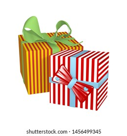 Two striped gift wrapping with bows isolated on white. 3d rendering