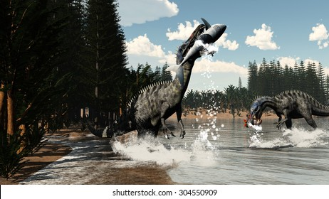 Two suchomimus dinosaurs fishing fish and shark next to calamite and pachypteris plants by day - 3D render
