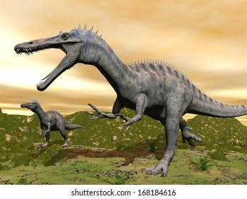 Two suchomimus dinosaurs in nature with green grass by colorful sunset