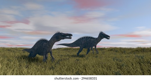 two suchomimuses running in grassland