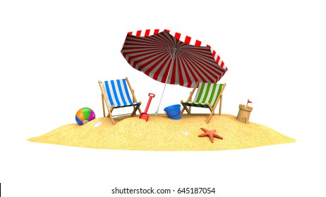 Two sun loungers and parasols on the beach. 3d illustration