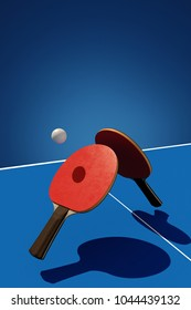Two table tennis or ping pong rackets and ball tournament poster design 3d illustration