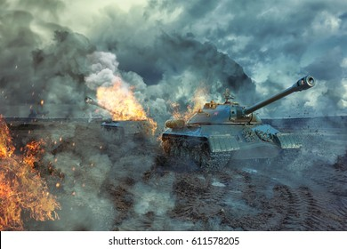 Two tanks on the battlefield. Damaged tank tower in the background. Military 3D illustration