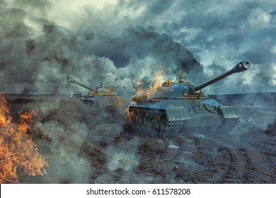 Two tanks on the battlefield at a hot spot. Military 3D illustration