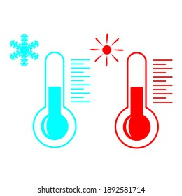 two thermometers warm and cold, drawing on a white background