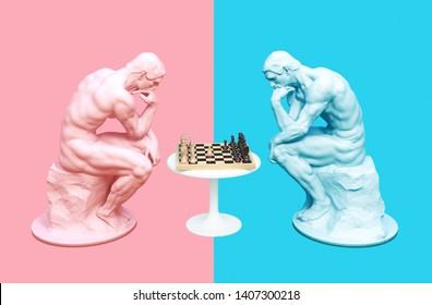 Zwei Denker, die über das Schachspiel auf rosafarbenem und blauem Hintergrund nachdenken. 3D-Illustration.