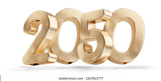 two thousand fifty 2050 golden symbol isolated on white 3d-illustration