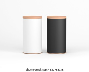 Two Tin Can Mockup with wooden lid. Black and White Cylindrical packaging, Tea, coffee. 3d rendering