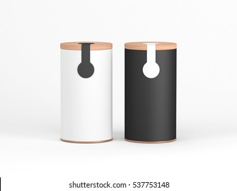 Two Tin Can Mockup with wooden cover and sticker, label. Black and White Cylindrical packaging, Tea, coffee. 3d rendering