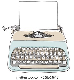 Two tone Typewriter with paper vintage