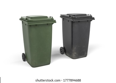 Two trash cans on wheels in green and graphite colors - isolated on white background - 3d render
